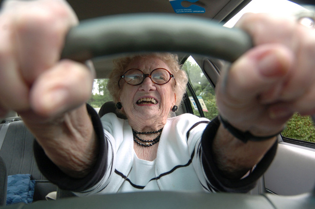 who learned to drive a Model T Ford at age 15, prepares to pull out of her parking space Friday, June 4, 2004 in Morgantown, WV. Wulfers said only her and God will decide when she stops driving. (AP PHOTO/DALE SPARKS)