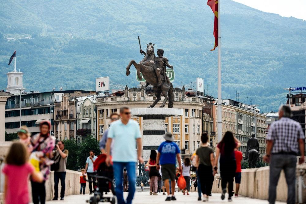 Pilsēta Skopje, Maķedonijā.