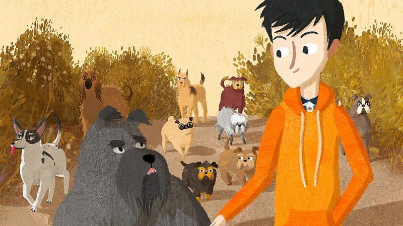 """Kadrs no filmas """"Jēkabs, Mimmi un runājošie suņi""""."""