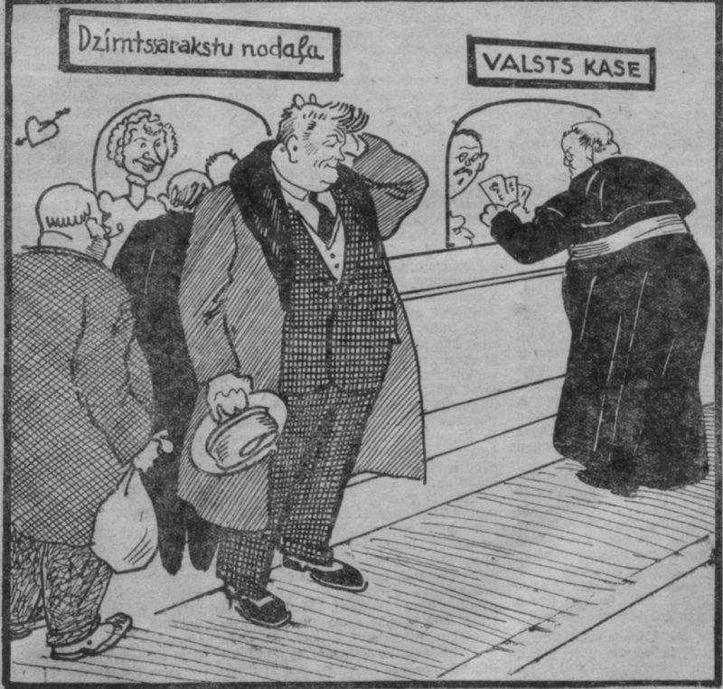 """Žurnāla """"Aizkulises"""" ironija par vecpuišu nodokļa apspriešanu Saeimā 1931. gada saimnieciskās krīzes laikā. Populārākais neprecētais kungs tā laika Latvijas sabiedrībā – Latviešu Zemnieku savienības redzamākais politiķis Kārlis Ulmanis."""