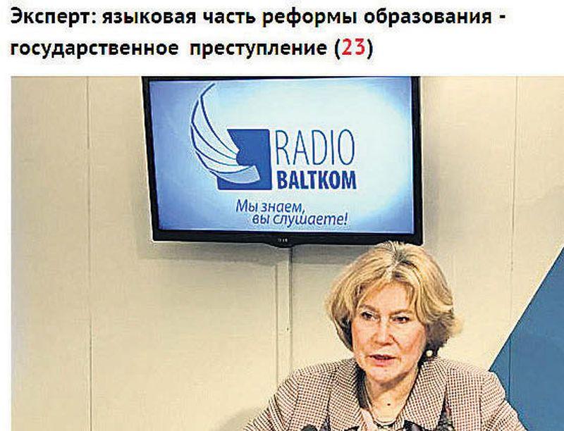 """Lai gan sarunā ar """"Latvijas Avīzi"""" Jeļena Matjakubova teic, ka neesot sacījusi """"valsts noziegums"""", bet gan """"noziedzīgas darbības"""", tomēr intervijā radio """"Baltkom"""" dzirdams, ka mācību valodas reformu viņa nosauc par antireformu un """"valsts noziegumu"""". Tas arī parādās Krievijas interneta mediju virsrakstos."""