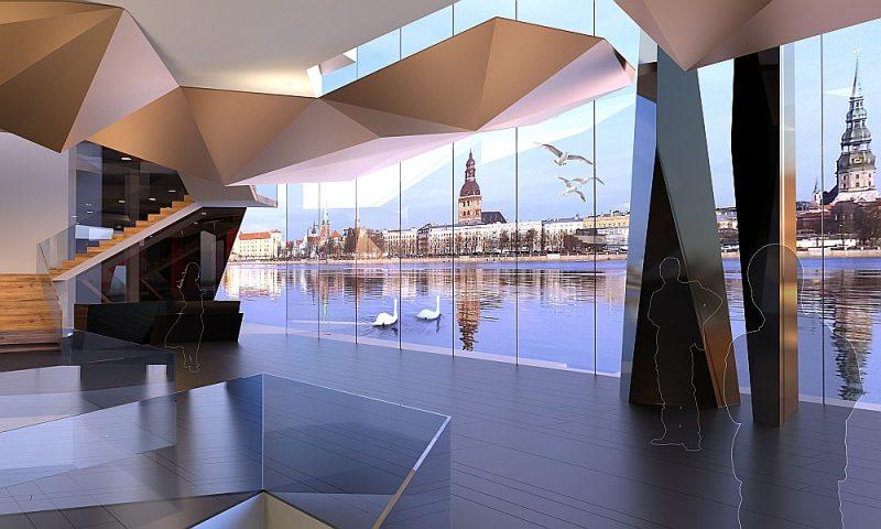 Koncertzāles projektam uz AB dambja vienīgajam pagaidām ir jau izstrādāts skiču projekts, kura autors ir arhitekts Andis Sīlis. Koncertzālei uz AB dambja ir gan piekritēji, gan daudz pretinieku. Ja tā tomēr tur tiktu uzcelta, šāds skats no ēkas pavērtos uz Vecrīgu.
