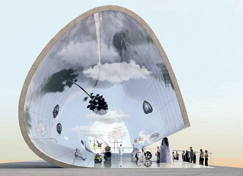 "Latvijas paviljona ""Ēters"" Dubaijas ""Expo"" vizualizācija."