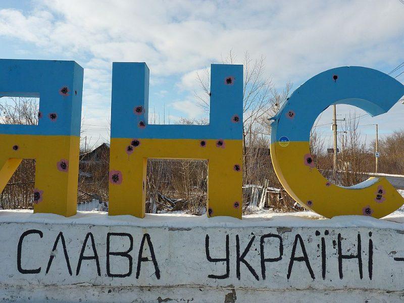 """Sašautais uzraksts """"Slavjansk"""" šodien kalpo kā atgādinājums par neseno karu."""