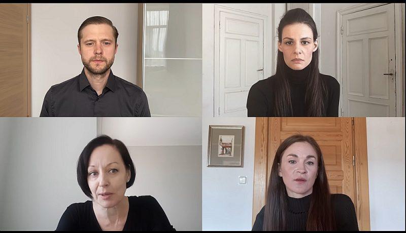 """Izrādē """"Jūsmotāji"""" piedalās Dailes teātra aktieri Dainis Grūbe, Ilze Ķuzule-Skrastiņa, Ieva Segliņa, Ģirts Ķesteris, Mārtiņš Upenieks, Kaspars Dumburs un Vita Vārpiņa. Lugas iestudēšana norisinās interneta platformā """"Skype"""", rezultātu filmējot."""