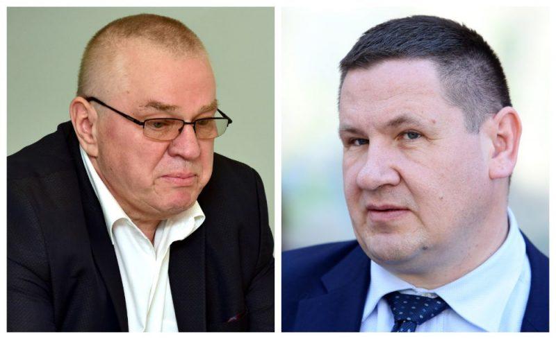 Ikšķiles novada domes priekšsēdētājs Indulis Trapiņš un Ogres novada domes priekšsēdētājs Egils Helmanis.
