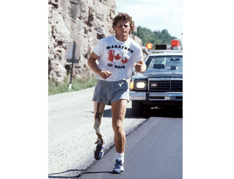 Terijs Fokss savā Cerību maratona skrējienā.