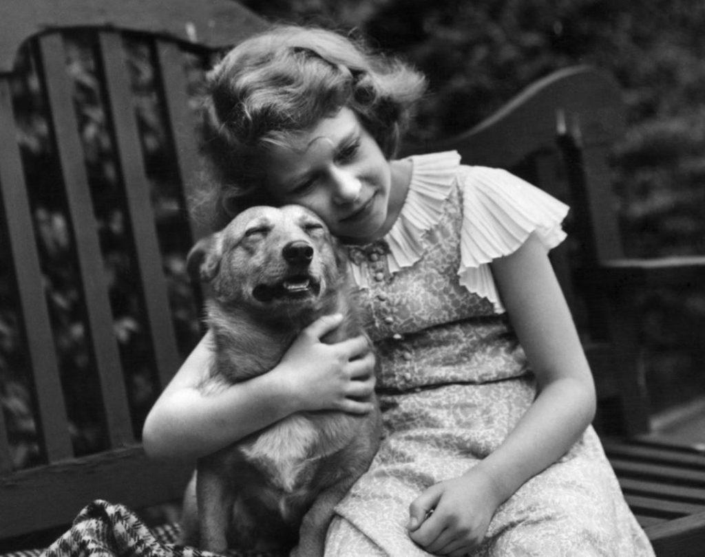 Karaliene Elizabete II un viņas suņi.
