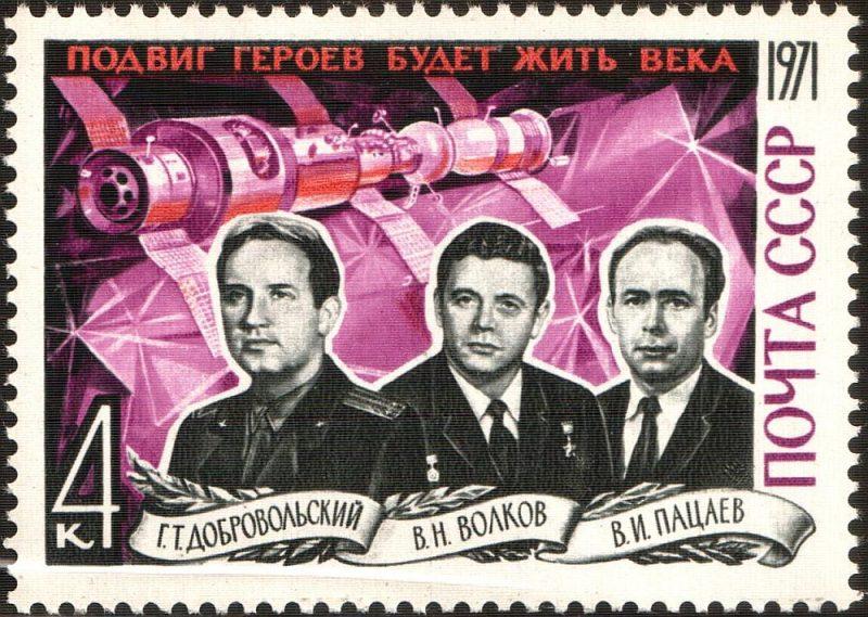 """""""Salūts-1"""" un """"Sajuz-11"""" bojāgājušie kosmonauti."""