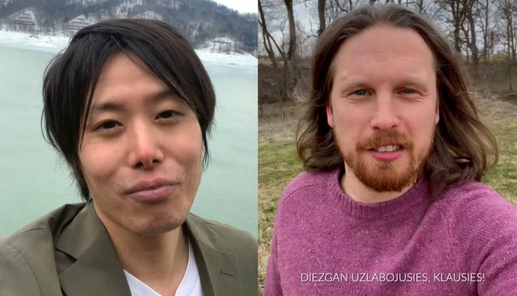 Masaki Nakagava no Japānas (pa kreisi) un Jorans Šteinhauers no Vācijas (pa labi).