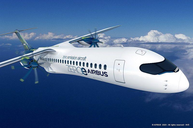 """""""Airbus"""" ūdeņraža lidmašīnas koncepta vizualizācija."""