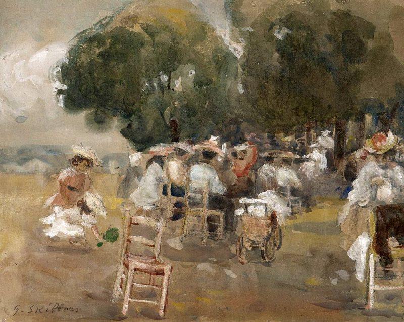 """Gustavs Šķilters. """"Versaļas dārzs"""". 1904. Papīrs, akvarelis. LNMM kolekcija."""
