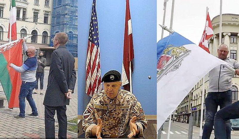 """Interneta vietnē """"Rubaltic.ru"""" apgalvots, ka cilvēks sejas aizsargmaskā, kas 24. maijā piedalījās Baltkrievijas karoga noņemšanā, strādājot ASV vēstniecībā, un esot arī zināms viņa vārds – Nils Students (attēls vidū). Internetā atrodams arī video, kurā tas pats tehniskais darbinieks 28. maijā paceļ mastā Rīgas pilsētas karogu (attēls pa labi). Turklāt šajā video skaidri redzams, ka tas nav ASV vēstniecības darbinieks Nils Students."""