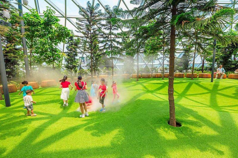 Mākslīgā migla mākslīgajā zālienā bērnu izklaidei Kanopī parkā pie Singapūras lidostas.