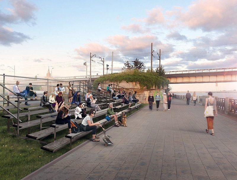 """Rīgas domē saskaņošanā atrodas Ievas Vītolas-Deusas projekts """"Saulrieta vērošanas tribīnes"""", kuras varētu uzstādīt jau augustā."""