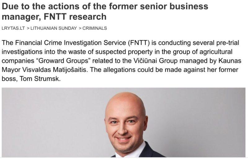 Raksts lrytas.lt par kriminālizmeklēšanu pret Tomasu Strumsku