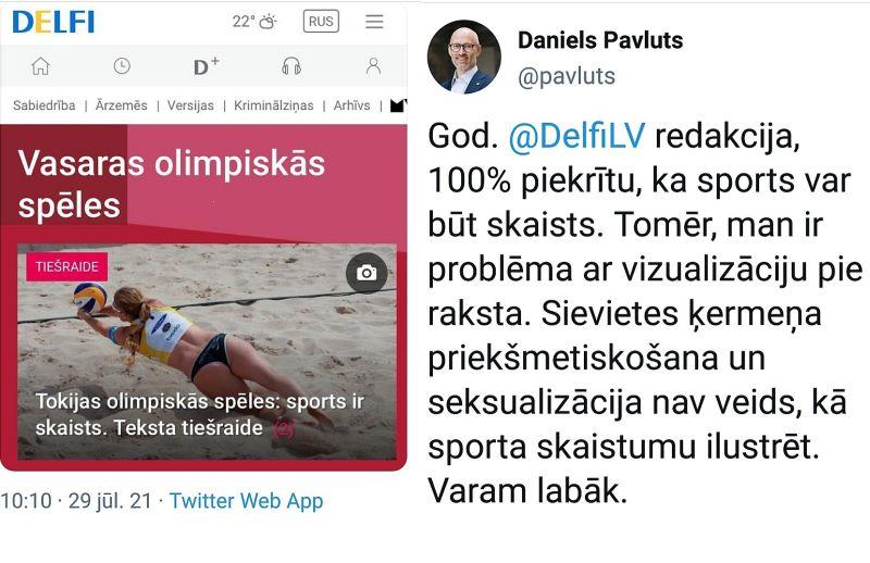 """Ministrs Daniels Pavļuts tviterī šādi reaģēja uz portāla """"Delfi"""" publikācijas fotogrāfiju."""