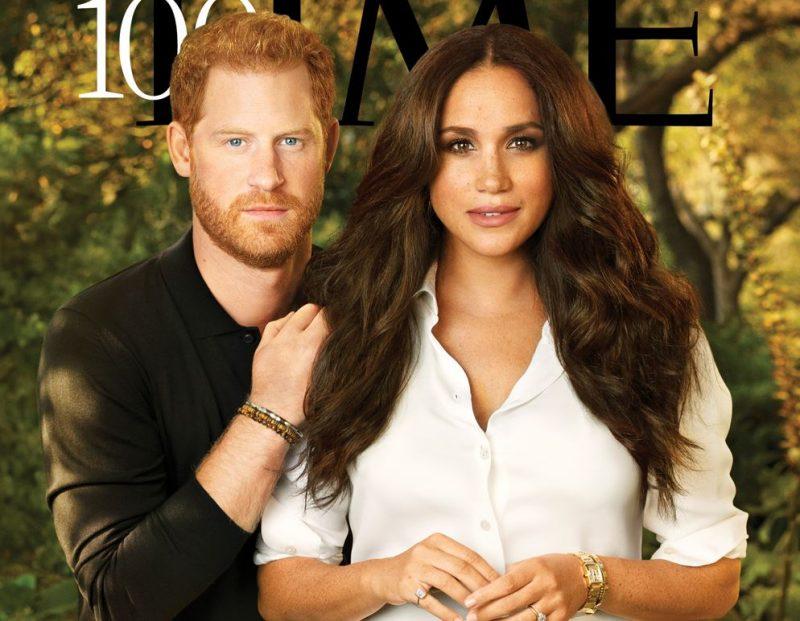 """Megana Mārkla un princis Harijs uz žurnāla """"TIME"""" vāka."""